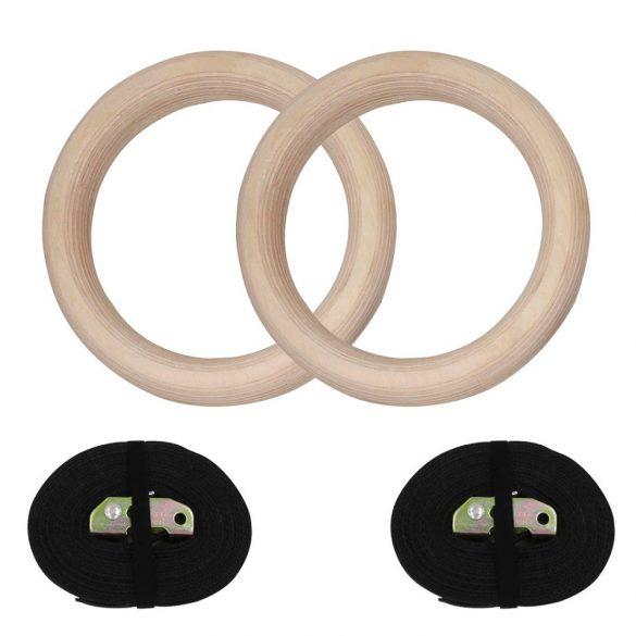 Capetan® Fa Tornagyűrű ABS Crossfit Gyűrű 150Kg Terhelhetőséggel, Gimnasztikai Karika