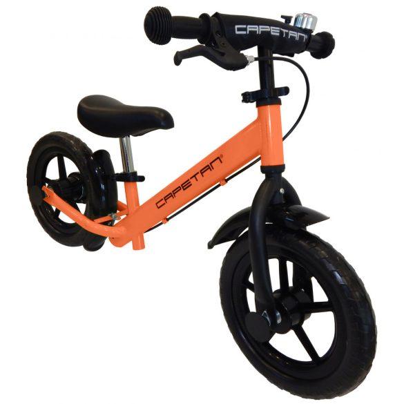 """Capetan® Neptun Narancs színű fékkel ellátott 12"""" kerekű futóbicikli sárhányóval és csengővel - pedál nélküli gyermekbicikli"""