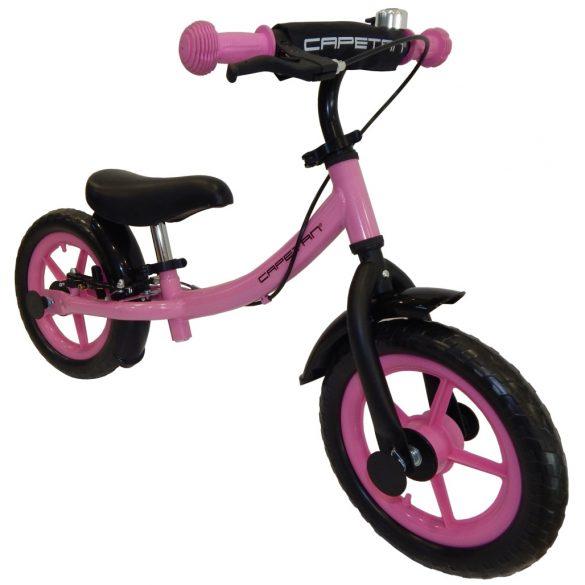 """Capetan® Sirius Premium Line Rózsaszín színű, fékkel ellátott 12"""" kerekű futóbicikli sárhányóval és csengővel - pedál nélküli gyermekbicikli"""