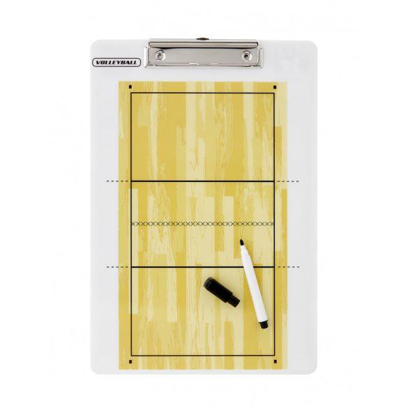 Röplabda taktikai tábla, csiptetős clipboard, filctollal írható