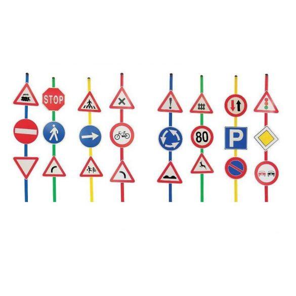 Közlekedési jelzőtábla készlet 24 táblával 12 tartótalppal és rúddal