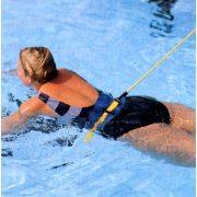 Edzéssegítő gumi kötél 5m hosszú 9mm átmérőjű gumicső ,derékra csatolható ellenállás, úszáshoz, helyben úszáshoz családi medencékbe is alkalmas eszköz