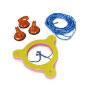 Vízilabda kezdő gyűrű , meccslabda  középvonalon rögzítő szerkezet komplett 3 db szívókorongos rögzítővel és kötéllel