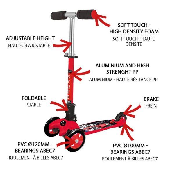 Nextreme GRAND PRIX összecsukható 3 kerekű roller kisfiúknak, piros színű