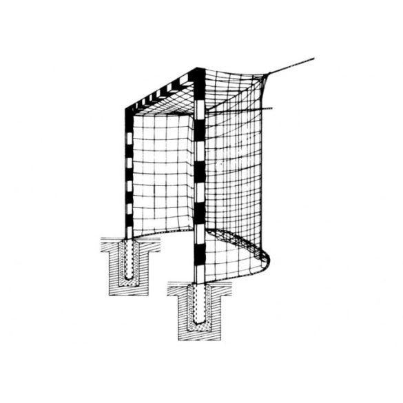 Rögzített kézilabda kapu hálótartó nélkül (csarnokfalra,labdafogóra rögzítendő háló)