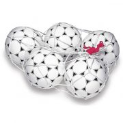 Labdatartó hurkolt fehér háló 18 labdához színes behúzó zsinórral