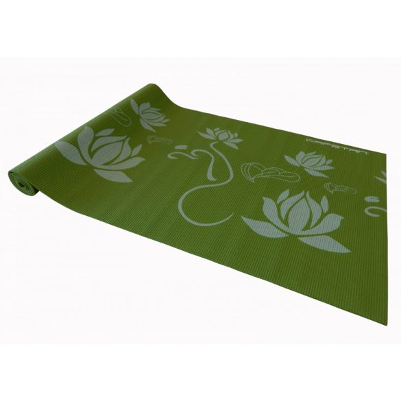 Capetan® 173x61x0,4cm Jóga szőnyeg zöld színben, mintákkal