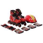 Ferrari® Gyermek Combo Piros 29-32 között állítható görkorcsolya szett sisakkal