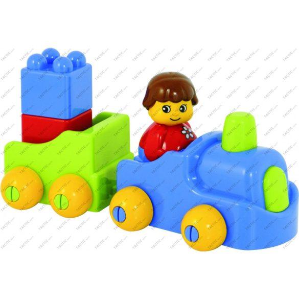 Első építőkockám építőjátékkészlet figurás elemekkel, 24 db-os készlet műanyag tárolóban,