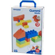 Gumi lego építő 19 db, puha építőkocka , Miniland