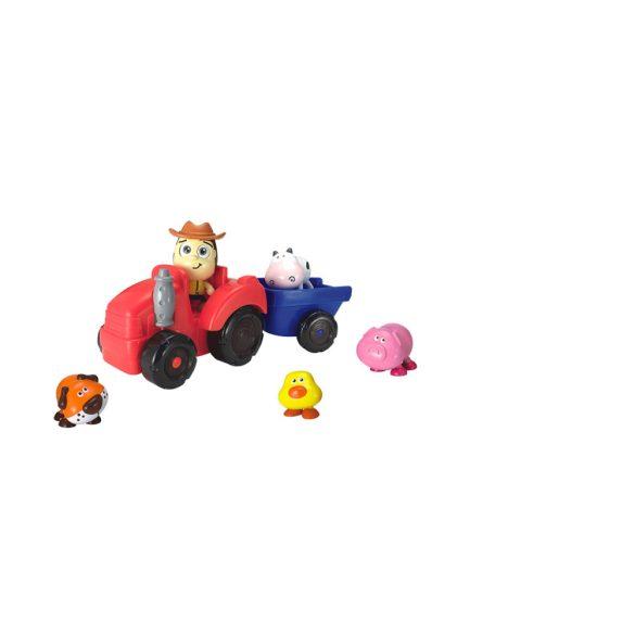 Baba traktor hangot adó állatokkal (26cm) bébijáték Miniland