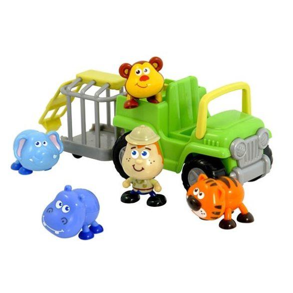 Bébi szafari interaktív állatszállító teherautó állatokkal, Miniland