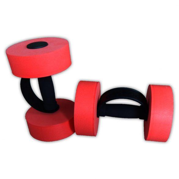 Aquafitness súlyzó pár, műanyag extra fogópánttal, 15x5 cm fejjel piros/fekete