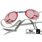 Svéd úszószemüveg sima piros áttetsző nem antifog- red, FINA jóváhagyott