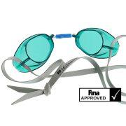 Svéd úszószemüveg sima áttetsző zöld - green, FINA jóváhagyott versenyszemüveg,