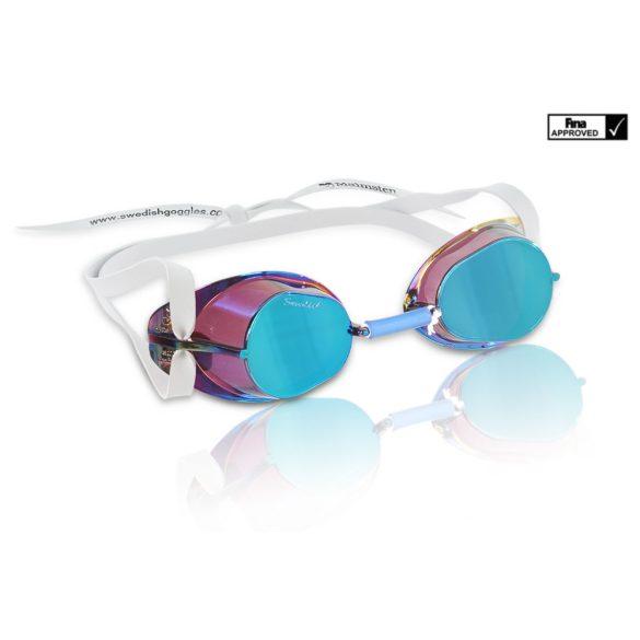 Svéd úszószemüveg petrol kék antifog tükrös metallic lencse, FINA jóváhagyott