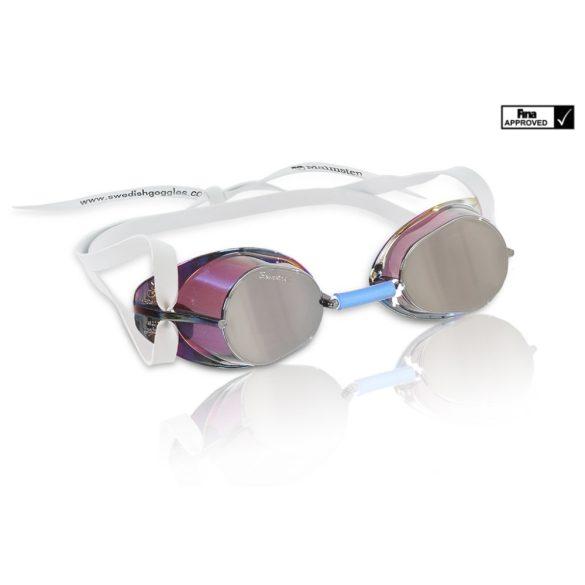 Svéd úszószemüveg Silver antifog tükrös metallic lencse, FINA jóváhagyott versenyszemüveg,