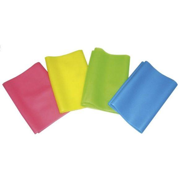 Gumi elasztikus tornaszalag 0,45 mm erősségű fitband, 150 cm /sárga/fitness