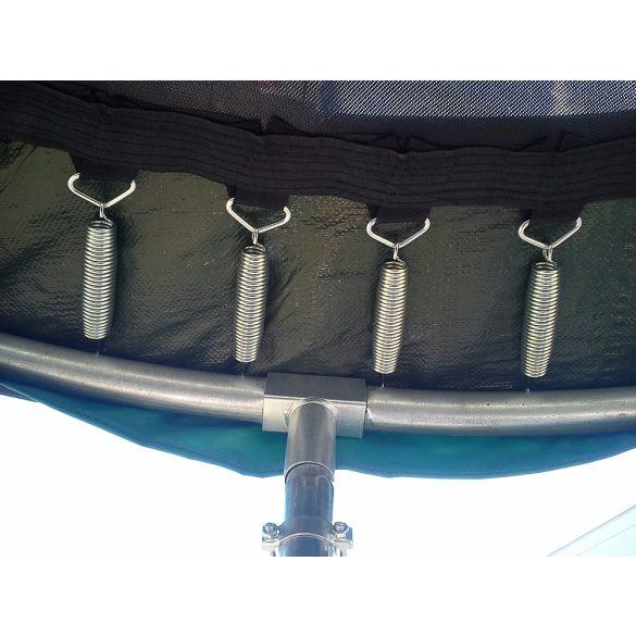 Capetan® Olive 25%-al megnövelt rugózású 2,44 m kültéri trambulin szett védőhálóval, 180Kg teherbírással, 60db rugóval - A megnövelt rugószám miatt a legtartósabb kivitelű trambulin
