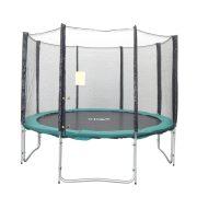 Capetan® Olive 305cm átm. 4 w lábbal 8 hálótartó oszloppal rendelkező kültéri Luxus trambulin szett védőhálóval, 160Kg teherbírással, 64db rugóval - A megnövelt számú láb és rugó miatt  a legstabilabb trambulin