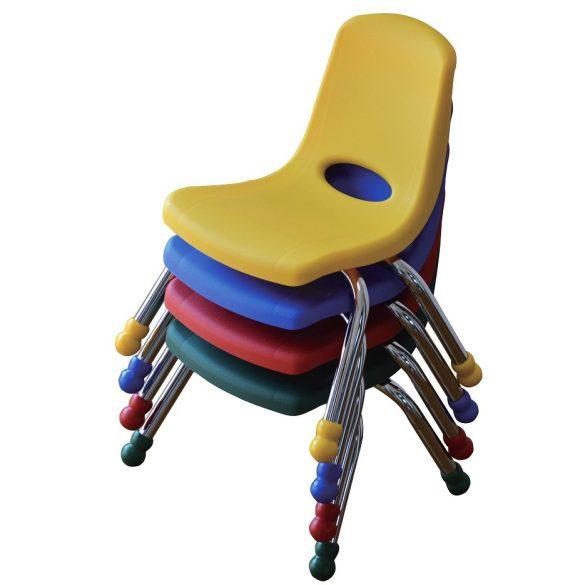 Tactic color óvodai rakásolható fém vázas szék műanyag palásttal, zöld