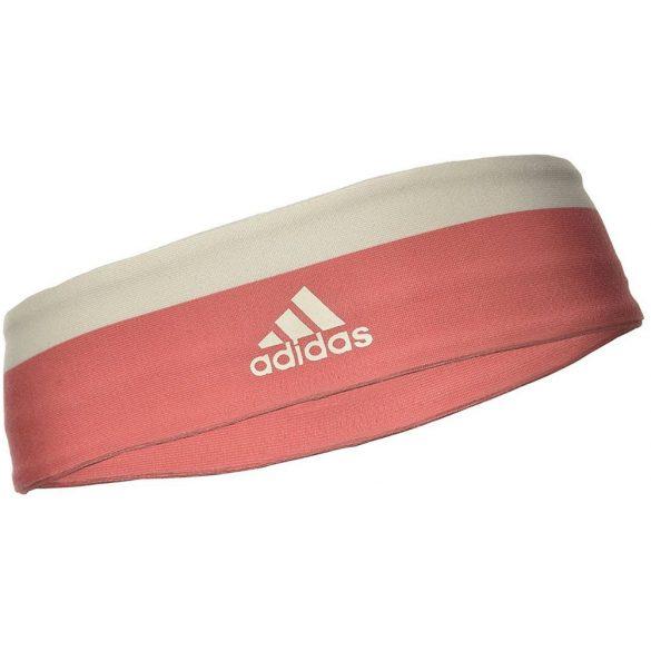 Adidas fejpánt lazac piros krétafehér csíkkal, uni méret