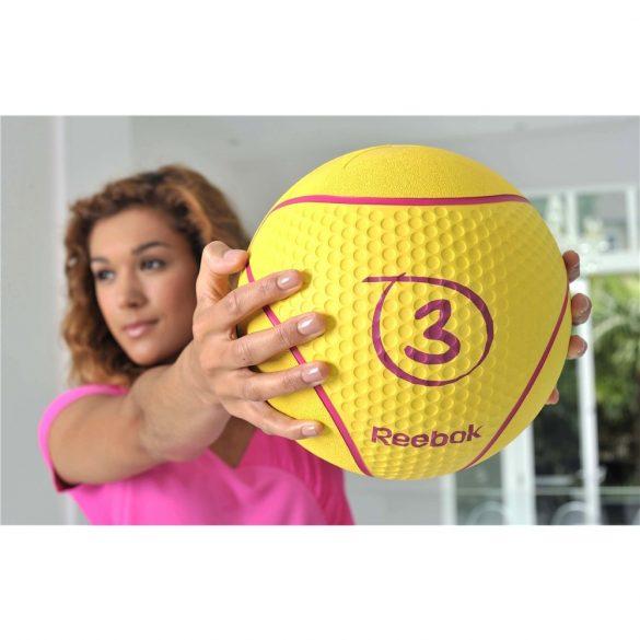 Reebok 3Kg sárga színű 23cm átmérőjű pattanó medicinlabda, professzionális edzőtermi használatra is alkalmas