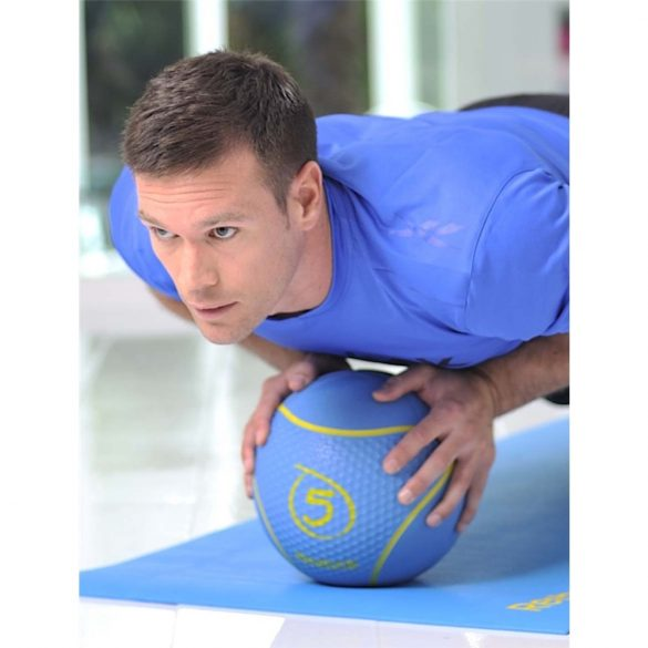 Reebok 5Kg Cián színű 23cm átmérőjű pattanó medicinlabda, professzionális edzőtermi