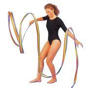 Ritmikus gimnasztika szalag szívárvány 5m, tartó pálcával