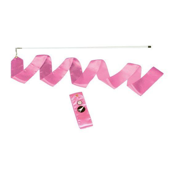 Ritmikus gimnasztika szalag tartópálcával, verseny kivitel 6 m rózsaszín