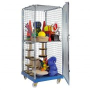 Zárható, gördíthető eszközszállító szekrény egy polccal, 180x72x81 cm  akár