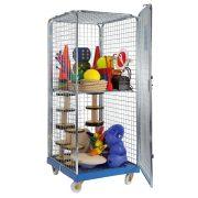 Zárható, gördíthető eszközszállító szekrény egy polccal, 180x72x81 cm akár labdatartó
