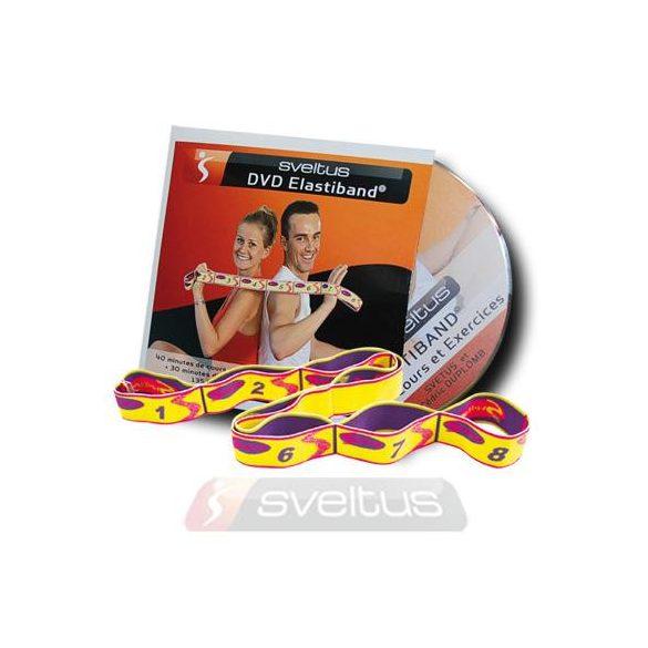Elastiband fitnesz erősítő gumipánt + DVD, 10 kg-os közepes ellenállás,