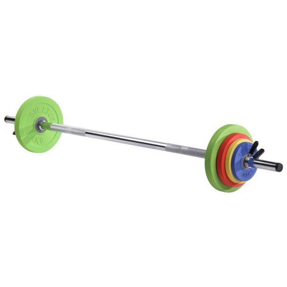 Kit FitUS hot iron súlyzó készlet 16 kg fitnesz színes súlyzó szett súlyzórúddal