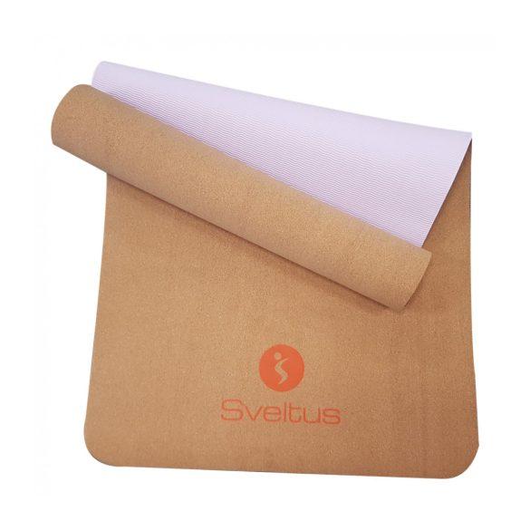 Parafa jóga (yoga) szőnyeg 180x61x0,4cm, parafa/lila felület