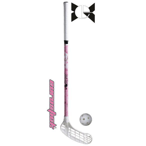 Floorball grippes junior ütő - Splash 80/91 cm - Pink - balra ívelt fej