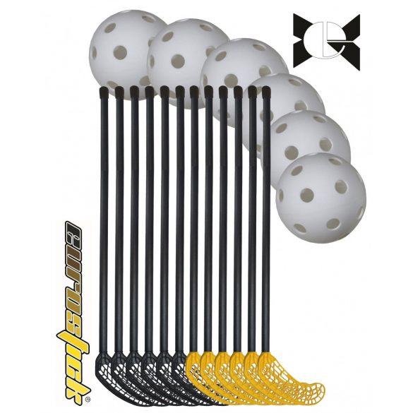 Floorball svéd intézményi 18 részes karbon Maxi felnőtt készlet, 95/107 cm karbon érdesített felületű 12 ütő 6 labda