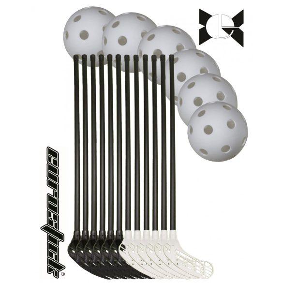 Foorball svéd senior szett EUROSTIC MASTER 18 részes , az ütők ívelt konkáv fekete/fehér színű fejjel fekete nyéllel , 12 db 95/106 cm ütő 6 db labdával