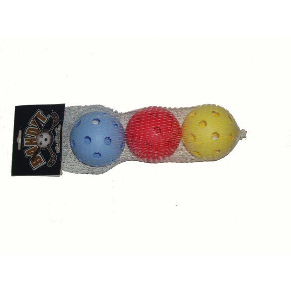 Acito floorball labda szett, 3 db vegyes színben, szabvány verseny