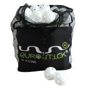 Floorball labda tartó zsák orkán, 100 db floorball labdával, 35x25x40 cm