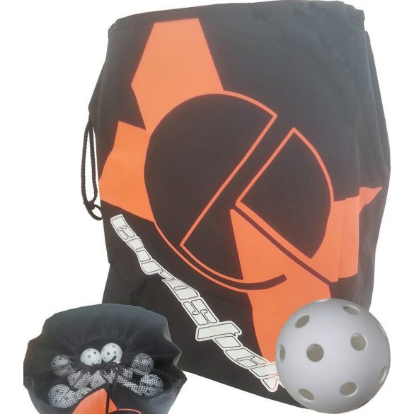 Floorball labda tartó zsák orkán, 100 db floorball labdával, 35x25x40