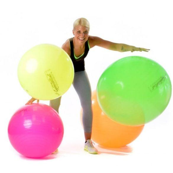 Fitball gimnasztika labda 65 cm NEON NARANCS szín, standard fényes