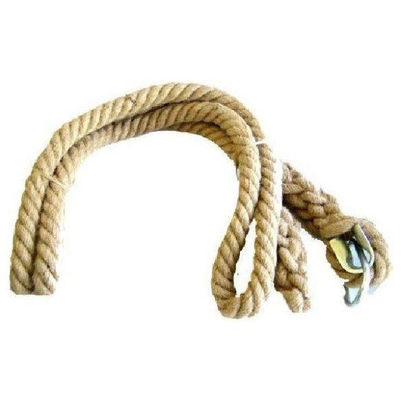 Mászókötél 7m hosszú, átmérő 32mm, anyaga kender, fém betétes felakasztó