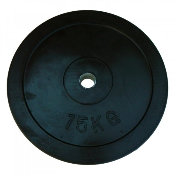 Capetan® Gumírozott 31mm átm, 15Kg Standard súlytárcsa acél gyűrűvel