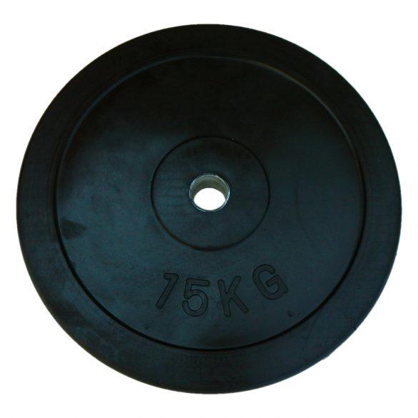Capetan® Gumírozott 31mm átm, 15Kg Standard súlytárcsa acél gyűrűvel a