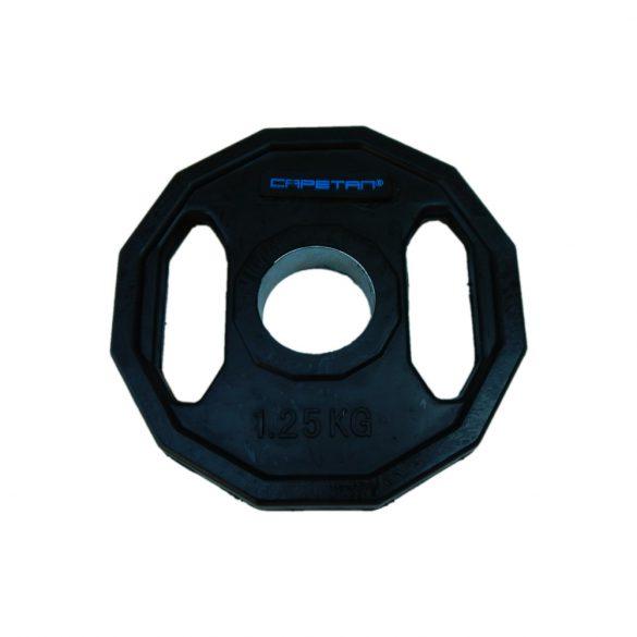 Capetan® Olympiai 1,25Kg gumival bevont tárcsasúly két fogantyúval, szögletes gurulásgátló