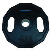 Capetan® Olympiai 10Kg gumival bevont súlytárcsa két fogantyúval, szögletes gurulásgátló