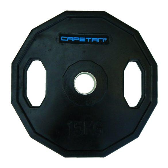 Capetan® Olympiai 15Kg gumival bevont tárcsasúly két fogantyúval, szögletes gurulásgátló
