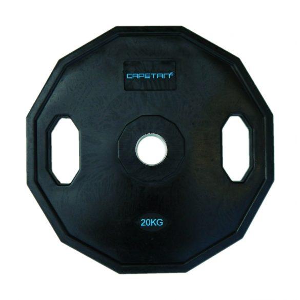 Capetan® Olympiai 20Kg gumival bevont tárcsasúly két fogantyúval, szögletes gurulásgátló