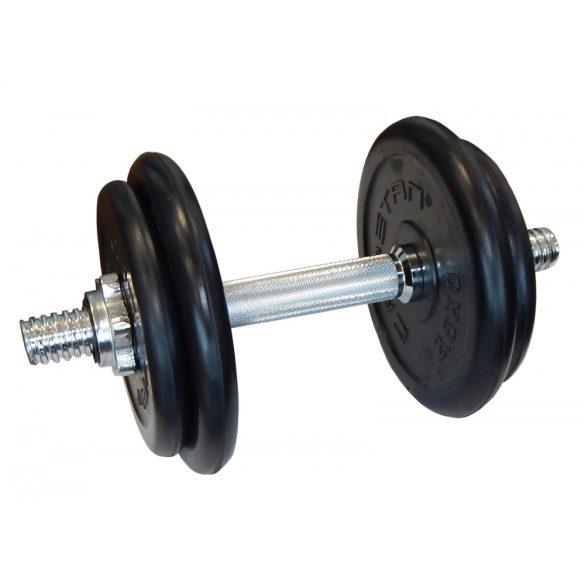 Capetan® 10Kg bővíthető súlyzó szett készlet gumírozott súlytárcsákkal chromozott rúddal